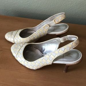 Leather off white and cream colored heels